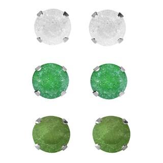 Set of 3-pair Sterling Silver 6.25-mm White/ Green/ Dark Green Ice Cubic Zirconia Stud Earrings