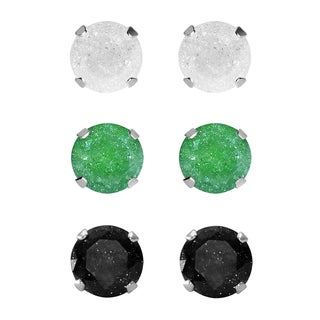 Set of 3-pair Sterling Silver 6.25-mm White/ Green/ Black Ice Cubic Zirconia Stud Earrings