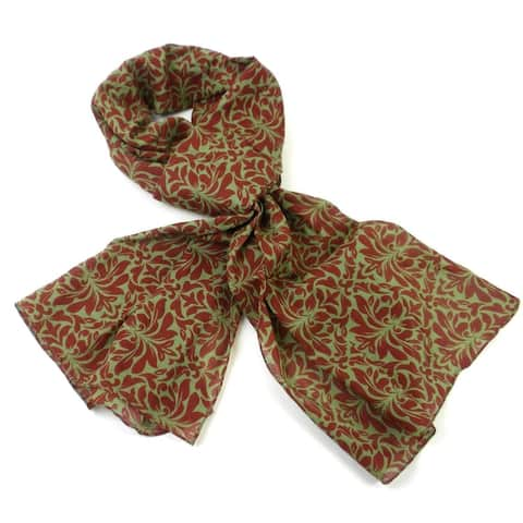 Handmade Olive Floral Cotton Scarf (India) - L