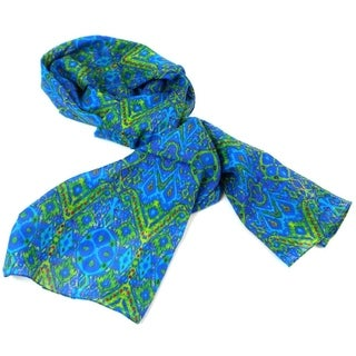 Handmade Blue Psychedelic Cotton Scarf (India)