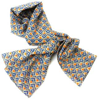 Handmade Blue and Orange Geometric Cotton Scarf (India)