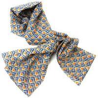 Handmade Blue and Orange Geometric Cotton Scarf (India)