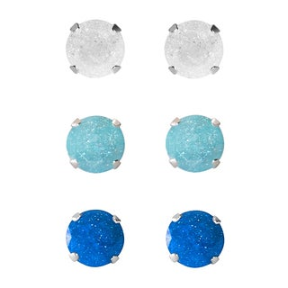 Set of 3-pair Sterling Silver 7-mm White/ Turquoise/ Blue Ice Cubic Zirconia Stud Earrings