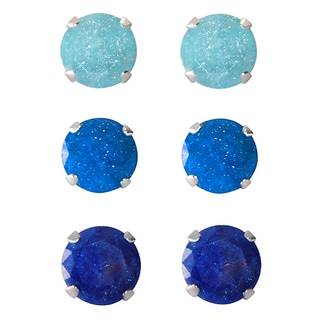 Set of 3-pair Sterling Silver 7-mm Turquoise/ Blue/ Bright Blue Ice Cubic Zirconia Stud Earrings