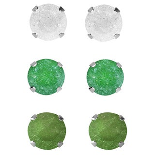 Set of 3-pair Sterling Silver 7-mm White/ Green/ Dark Green Ice Cubic Zirconia Stud Earrings