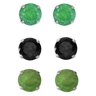 Set of 3-pair Sterling Silver 7-mm Green/ Black/ Dark Green Ice Cubic Zirconia Stud Earrings