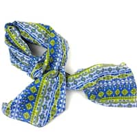 Handmade Blue and Green Glyph Cotton Scarf (India)