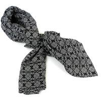 Handmade Black and White Floral Cotton Scarf (India)