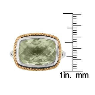 Meredith Leigh 14k Yellow Gold and Sterling Silver Green Amethyst Ring (Size 8)