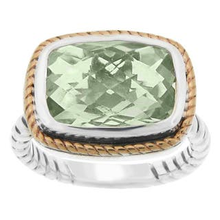 Meredith Leigh 14k Yellow Gold and Sterling Silver Green Amethyst Ring (Size 8)|https://ak1.ostkcdn.com/images/products/11775139/P18687253.jpg?impolicy=medium
