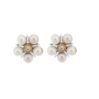 Meredith Leigh Sterling Silver 14k Yellow Gold Pearl and Topaz Flower Earring