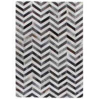 Exquisite Rugs Chevron Hide Grey / White Leather Hair-on-hide Rug (8' x 11') - 8' x 11'