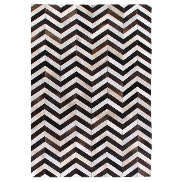 Exquisite Rugs Chevron Black White Leather Hair On Hide Rug 9
