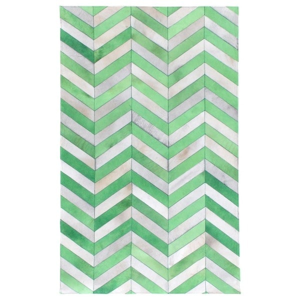 Exquisite Rugs Chevron Hide Jade / White Leather Hair-on-Hide Rug - 9'6'' x 13'6''
