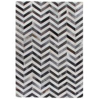 Exquisite Rugs Chevron Hide Grey / White Leather Hair-on Hide Rug - 9'6'' x 13'6''
