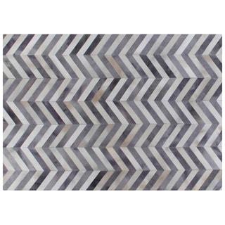 Chevron Pewter / White Leather Hair-on-Hide Rug (11'6 x 14'6)