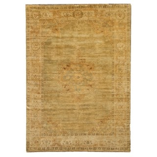 Turkish Oushak Green / Beige New Zealand Wool Rug (8' x 10')