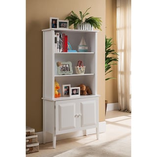 K&B Tall White Bookcase with Cabinet