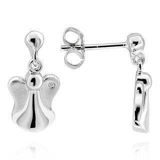 Sterling Silver Round Diamond Accent Angel Earrings (China)