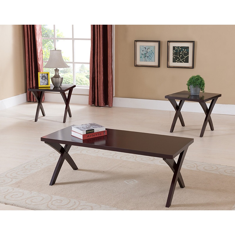 Cocktail End Table Set Crossed Legs Rectangular Wooden Top Cherry Finish  (3 Pc)
