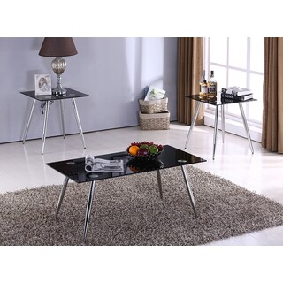 K&B Black Tempered Glass 3-piece Cocktail and End Table Set