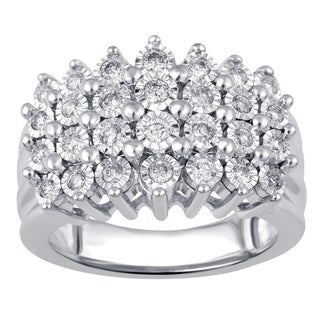 Divina Sterling Silver 1/2ct TDW Diamond Miracle Plate Ring