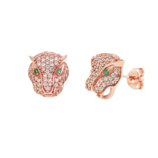 Eternally Haute 14k Gold Overlay Cubic Zirconia Pave Panther Stud Earrings