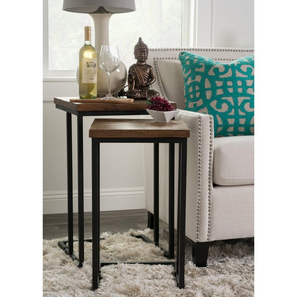 Lynda Natural Wood And Iron Nesting Tables By Kosas Home