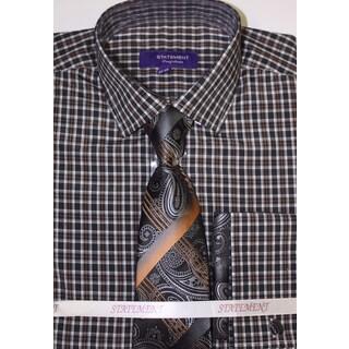 SH-828 Men's Black/Multi Cotton Shirt, Tie and Hankie Set