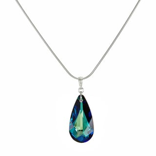 Jewelry by Dawn Sterling Silver Bermuda Blue Crystal Teardrop 18-inch Necklace