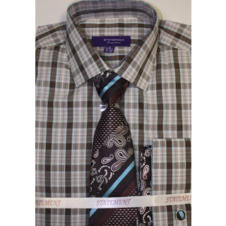 SH-823 Brown Shirt, Tie and Hankerchief Set