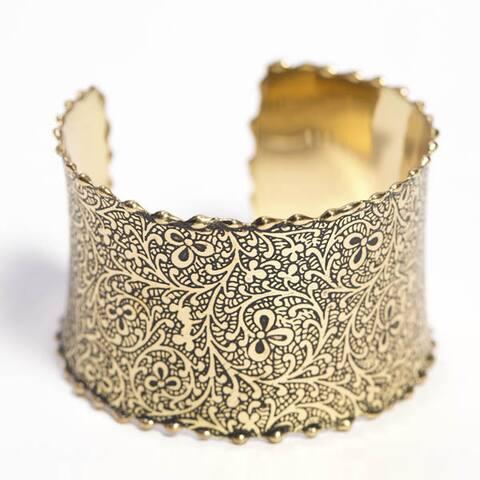 Handmade Gold Impression Cuff (India)