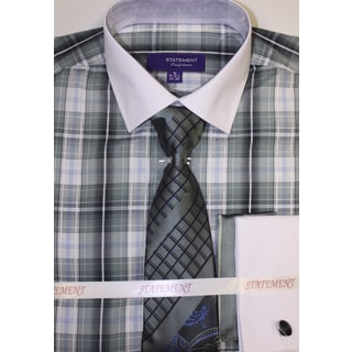 Men's Sage Cotton Shirt, Tie and Hankie Set