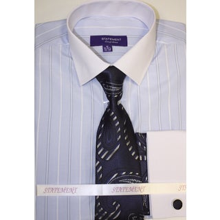 SH-807 Men's Blue Shirt, Tie and Hankie Set