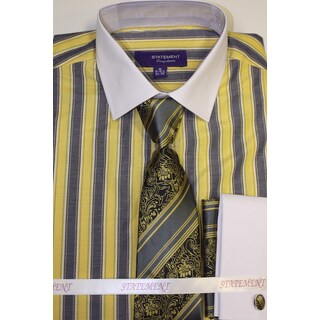 Men's Yellow Shirt, Tie and Hankie Set