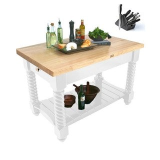 John Boos 72x32 Tuscan Isle Boos White Butcher Block Table TUSI7232-AL with 13-piece Henckels Knife Set
