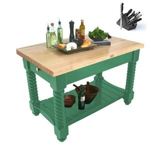 John Boos 54x32 Tuscan Isle Butcher Block Table TUSI5432 Clover Green with 13-piece Henckels Knife Set