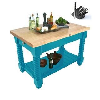 John Boos 54x32 Tuscan Isle Boos Blue Butcher Block Table TUSI5432-CB & 13-piece Henckels Knife Set