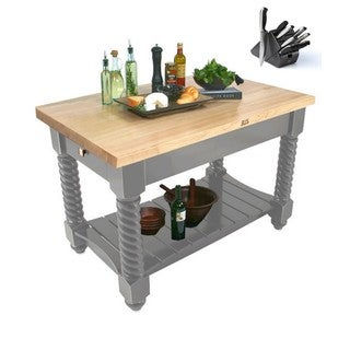 John Boos 54x32 Tuscan Isle Boos Grey Butcher Block Table TUSI5432-SG with 13-piece Henckels Knife Set