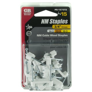 "GB Gardner Bender PS-1575T2 3/4"" White Insulated Romex Staples 15-count"