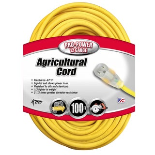 Coleman Cable 16590002 100' 12/3 Gauge Yellow All-Weather Extension Cord