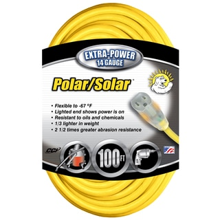 Coleman Cable 14890002 100' 14/3 Gauge Yellow All-Weather Extension Cord