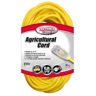 Coleman Cable 16580002 50' 12/3 Gauge Yellow All-Weather Extension Cord