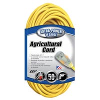 Coleman Cable 14580002 50' 14/3 Gauge Yellow Agricultural Extension Cord