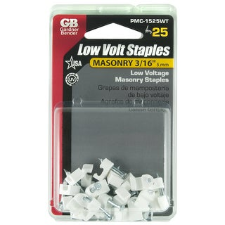 "GB Gardner Bender PMC-1525WT 3/16"" White Masonry Low Voltage Staples 25-count"