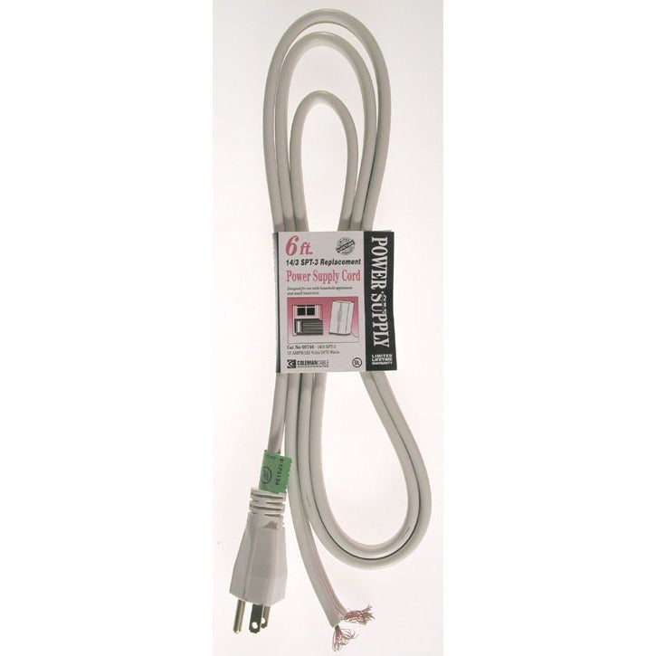 Coleman Cable 09746 Three Conductor Beige SPT-3 Replacement Power Cord (Power cables)