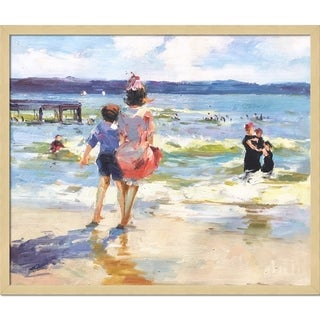 Edward Potthast 'At the Seashore' Hand Painted Framed Canvas Art