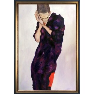 Egon Schiele 'Young Man in Purple Robe with Clasped Hands, 1914' Hand Painted Framed Canvas Art