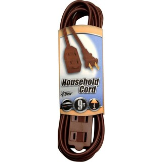 Coleman Cable 09402 9' 16/2 Brown Indoor Cube Tap Extension Cord