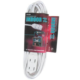 Coleman Cable 09414 15' 16/2 White Indoor Cube Tap Extension Cord